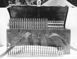 American photograph of a captured Japanese ammunition box with ammunition strips for the Type 92 machine gun, Guadalcanal, 1942.