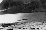 Type IXC/40 submarine U-537 at anchor in Martin Bay, Labrador, Newfoundland (now Canada) on 22 Oct 1943. The photo is taken from the site of Weather Station Kurt on the Hutton Peninsula.