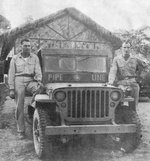 Jeep working the Ledo Road assigned to the pipeline project that built a fuel pipeline to China alongside the Ledo Road, 1944