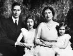Prince Albert the Duke of York and the Duchess of York with their two daughters, Princess Elizabeth (the future Queen Elizabeth II) and Princess Margaret, late 1930s.