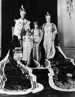 Coronation portrait of King George VI, Queen Elizabeth, and the Princesses Elizabeth and Margaret of the United Kingdom, London, England, United Kingdom, 12 May 1937.