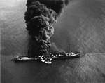 Oil tanker Byron T Benson burns on 5 Apr 1942 after being torpedoed the night before by U-552 ten miles off North Carolina, United States. 28 were rescued while ten perished. The ship burned for 3 days before sinking