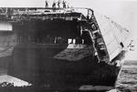 USS Hornet (Essex-class) with 24 feet of her flight deck collapsed over the bow after being damaged 5 Jun 1945 in a typhoon in the Philippine Sea. 120 knot winds and 60 foot seas caused the damage.