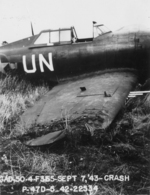 A P-47D Thunderbolt that crashed on take-off, Halesworth, Suffolk, England, United Kingdom, 7 Sep 1943. Photo 2 of 3.
