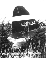 A P-47D Thunderbolt that crashed on take-off, Halesworth, Suffolk, England, United Kingdom, 7 Sep 1943. Photo 3 of 3.