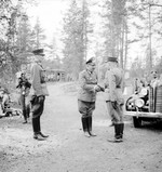 German Col General Nikolaus von Falkenhorst and Finnish Maj General Hjalmar Siilasvuo at their meeting in Kuusamo, Finland, 29 Aug 1941. Photo 3 of 4.