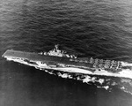 USS Yorktown (Essex-class) under way east of Guam during the Mariana Islands Campaign, 17 Jul 1944.