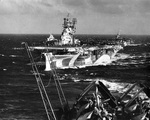 USS Yorktown (Essex-class) steaming in Task Group 58.4 en route to launch area off Kyushu, Japan, 19 Mar 1945. Photo likely taken from Intrepid with Langley behind Yorktown. Photo 2 of 2