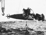 Hulk of Japanese Type A midget submarine recovered from Sydney Harbor after being destroyed in the 31 May 1942 raid, Jun 1942.