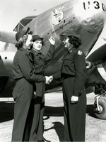 "WASP pilots in front of the squadron Beech C-45 Expeditor, ""Miss Fifinella,"" named in honor of the WASP mascot, 1944, location uncertain but likely Avenger Field, Sweetwater, Texas, United States."
