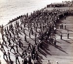 "Line Crossing ceremony aboard USS Essex, 1 Sep 1944. Official captions reads, ""The way of the Polliwog is hard."""