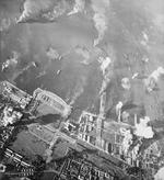 Strike photo of the Manila docks at the height of the attack, 14 Nov 1944, Manila, Luzon, Philippines. Photo taken by aircraft from USS Essex.