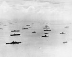 Ships of the US fleet at Ulithi Atoll, Caroline Islands, 8 Feb 1945. Visible are 7 large carriers, 3 light carriers, 3 battleships, and numerous cruisers, destroyers, and support vessels including 1 hospital ship.