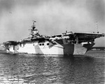 USS Hornet (Essex-class) laying off Norfolk Navy Yard, Portsmouth, Virginia, United States, 19 Dec 1943 shortly after commissioning showing off her MS33/3a paint scheme. Photo 1 of 4.