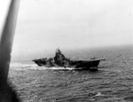USS Intrepid launching a SB2C Helldiver during the Battle of Leyte Gulf, 24 Oct 1944.