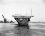Stern view of the carrier Franklin off Norfolk Navy Yard, Portsmouth, Virginia, United States, 4 May 1944