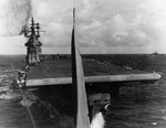 Photo from an SBD Dauntless moments after taking off from the USS Lexington (Essex-class) for strikes against Saipan in the Mariana Islands, 13 Jun 1944