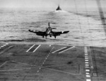 An F4U-1D Corsair with Fighting Squadron VBF-84 taking off from USS Bunker Hill for a close ground air support mission to Iwo Jima, 19 Feb 1945