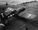 F4U-1D Corsair on the flight deck of USS Bunker Hill off Okinawa, 6 May 1945
