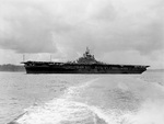 USS Lexington (Essex-class) at anchor in Puget Sound, Washington, United States, 21 May 1945 following extensive repairs at the Navy Yard in Bremerton.