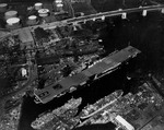 Essex-class Aircraft Carrier Hancock at the Fore River Shipyard, Quincy, Massachusetts, United States, 14 Apr 1944, the day before her commissioning.