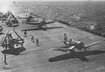 F4U Corsairs and TBM Avengers of Air Group 6 aboard USS Hancock off Okinawa, Japan, 2 Apr 1945