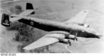 Captured Junkers Ju-290 heavy transport aircraft with German markings but with US tail number FE3400 flying over the United States in late 1945. This plane became a common sight at postwar air shows.