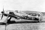 Focke-Wulf Fw 190A-3 at rest at the RAF airfield at Pembrey, South Wales, United Kingdom after German pilot Oberleutnant Armin Faber landed there by mistake after a furious dogfight over Devon, 23 Jun 1942