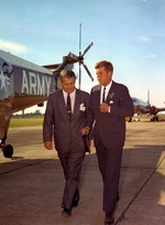 Wernher von Braun and President John F Kennedy at the Redstone Army Airfield, Huntsville, Alabama, United States, 18 May 1963