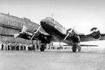 Lufthansa airliner version of the Focke-Wulf Condor at Floyd Bennett Field, Brooklyn, New York, 11 Aug 1938 after completing the first transatlantic flight from Berlin.