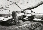 An abandoned Heinkel He-219 Uhu night fighter under tattered camouflage netting, date and location unknown.
