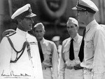 Supreme Allied Commander of the Southeast Asia Command, Admiral Louis Mountbatten being greeted aboard USS Saratoga by Captain John Cassady at Colombo, Ceylon (now Sri Lanka), 30 Apr 1944.