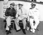 MacArthur, Roosevelt, and Nimitz aboard USS Baltimore, Pearl Harbor, US Territory of Hawaii, 26 Jul 1944, photo 3 of 3
