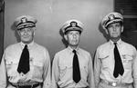 Admiral Raymond Spruance with the day's two honorees, Rear Admiral Robert Giffen who had just received the Legion of Merit and Rear Admiral John Dale Price who had just received the Distinguished Flying Cross, early 1944