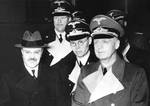 Vyacheslav Molotov and Joachim von Ribbentrop at Anhalter Station, Berlin, Germany, 14 Nov 1940. They are escorted by Foreign Office staff members Baron Alexander Von Dörnberg (2m tall) and Gustav Hilger (glasses)