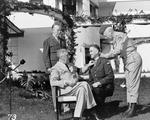 Franklin Roosevelt awarding Brigadier General William Wilbur the Medal of Honor, Casablanca, French Morocco, 22 Jan 1943; note George Marshall in background and George Patton assisting. Photo 2 of 2.