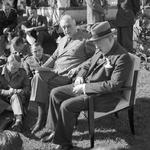Franklin Roosevelt and Winston Churchill brief war correspondents in the gardens of Roosevelt?s Villa Dar es Saada in the Anfa neighborhood of Casablanca, French Morocco during the Casablanca Conference, 24 Jan 1943.