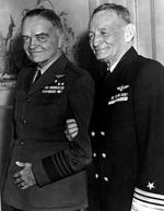 "Admiral William Halsey and Vice Admiral John McCain enjoying a lighter moment, probably at a social event in Washington DC, United States, Feb or Mar 1945. Note Halsey's ""Aviator Greens"" uniform."