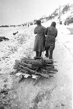 Soviet soldiers transporting rifles, Stalingrad, Russia, 1943