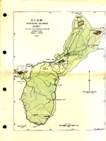US Navy Construction Brigade Sept 1944 map of Guam in the Mariana Islands highlighting the newly constructed airfields