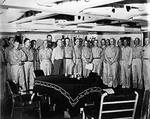 Newly promoted Fleet Admiral Chester Nimitz hosting a collection of Third Fleet flag officers aboard battleship USS New Jersey in Ulithi Lagoon, Caroline Islands, Christmas Eve, 1944.