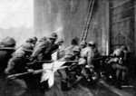 Japanese troops assaulting the Sihang Warehouse, Shanghai, China, circa 29 Oct 1937, photo 1 of 3