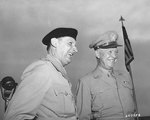 Field Marshal Bernard Montgomery and General Dwight Eisenhower sharing a laugh at Fort Myer, Virginia, during Monty's visit to the United States, 19 Sep 1946.