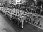 Chinese-American servicemen of the 14th Air Service Group of US Air Force on parade for the Memorial Day holiday, Dayton, Ohio, United States, 30 May 1943