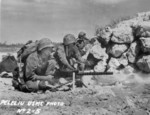 US Marine M1919 Browning machine gun crew, Peleliu, Palau Islands, 1944