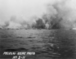 Smoke rising from Peleliu, Palau Islands, 1944