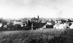 Lidice, Czechoslovakia in the 1930s. St. Martin's church sits prominently in the center of the village. The dark roofs in the foreground are the Horák family farm where all 173 Lidice men were killed on 10 Jun 1942.