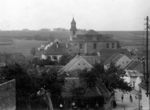 Lidice, Czechoslovakia in the 1930s. St. Martin's church sits prominently in the center of the village.