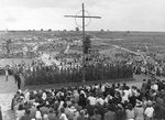 Lidice, Czechoslovakia Jun 1945. A memorial service being held at the site of the mass grave holding the bodies of all 173 of Lidice's men murdered by the SS on 10 Jun 1942 on the third anniversary of the massacre.