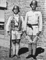 Chinese soldiers demonstrating their standard equipment, 1942